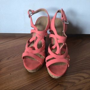 Coral Strappy Wedges with Cork Wedge